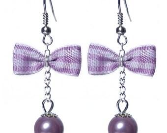 Glamorous retro BB violet purple Gingham Bow earrings