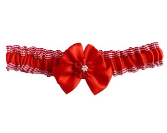 Garter wedding satin red and white Gingham Bow - several sizes