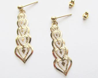 14K Gold Heart Dangle Pierced Earrings Estate