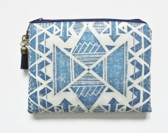 Mum gifts, Travel Pouch, Navy Navajo, Tribal, Aztec, small zipper bag, travel bag, wallet pouch.