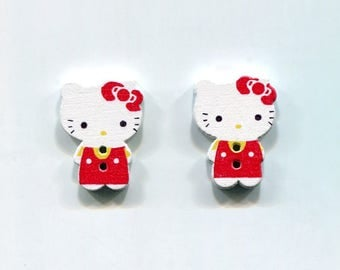 lot 2 Hello Kitty Cat buttons * RedCoat * wood 24mm
