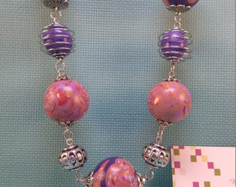 §63§ necklace pink and purple polymer beads