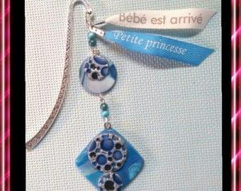 Bookmark polymer gray/blue/silver