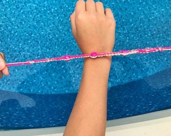 Handmade Tie-on Hemp and Yarn Beaded Bracelet