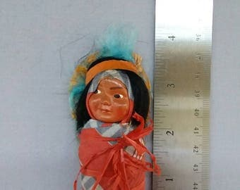 Vintage 1940's Indian, Native American, Papoose, Skookum Doll