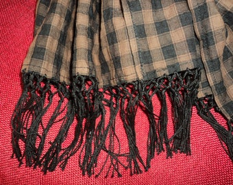 Brown and black check (cotton voile) mens scarf!