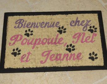"""Doormat personalized """"Welcome!"""""""