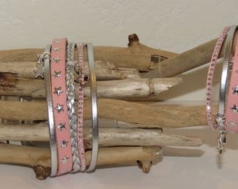 "Duo of MOM and girl ""pink sweet shooting star"" cuff Bracelets Leather suede star studded suede color"