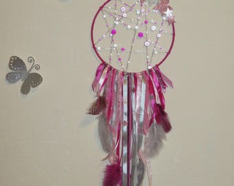 Dream catcher, light gray, pink pastel, fuchsia, with stars, glitter, magic Pearl, feathers, stars, dreamcatcher,