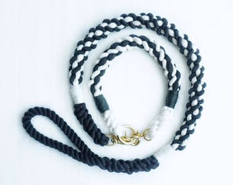 Black & White Cable Dog Leash