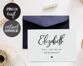 Will You Be My Bridesmaid Printable Card, INSTANT DOWNLOAD DIY Ask to be Bridesmaid, Maid of Honor, Flower Girl, pdf editable - Juliette
