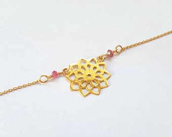Flower - 925 Silver necklace with a flower and pink tourmaline (rubellite) gemstones