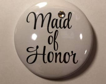 Maid Of Honor Button With Swarovski Crystal