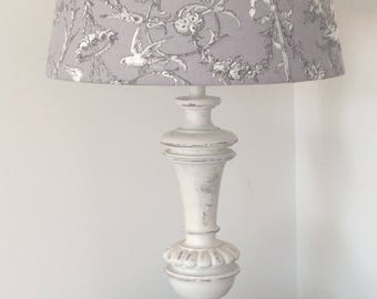 Great lamp shabby cottage chic lamp shade French toile de jouy grey effect