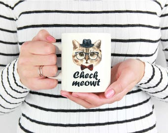 Check Meowt Coffee Mug- Funny gift for cat lover!