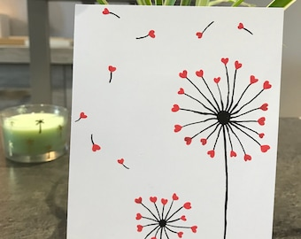 Dandelions and hearts card