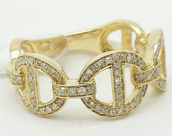 14k Solid Yellow Gold Diamond Mariner Anchor Chain Design Band Ring