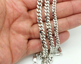 Italian 925 Solid Sterling Silver  Miami Cuban Men Bracelet Boyfriend Father Dad Gift