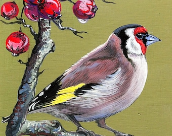 """Picture with a bird. """"Goldfinch"""""""