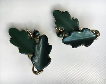 Vintage 50's Lisner Signed Lucite Thermoset Leaf Silver Tone Clip Earrings