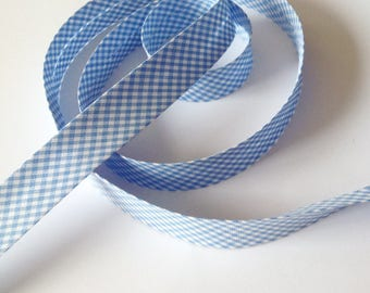 Blue gingham bias layette cotton pre-folded 2cm sold by the yard