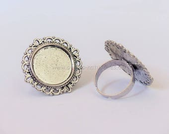 20mm - Antique Silver - 10 or 100 Rings for Cabochon 20mm