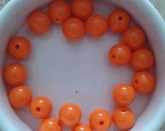 Set of 20 beads 10mm acrylic orange (P11)