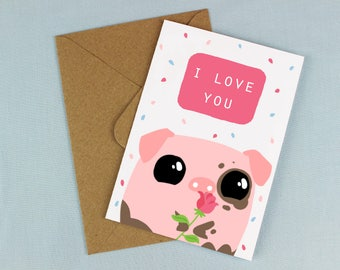 Babe card / Mother's Day Card / Love card / I love you card / Pig love card / Card for her / Card for mum / I love you babe / Cute