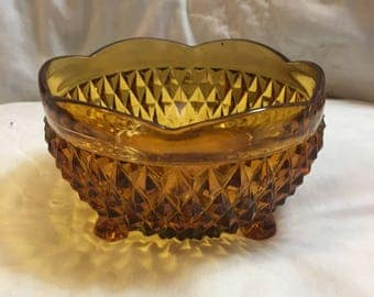 Vintage Amber Indiana Glass Diamond 3 Footed Bonbon Candy Dish Bowl Scalloped
