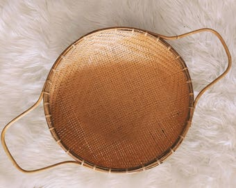 Vintage wicker strainer