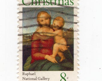 Madonna and Child (2 Stamps) - US Postage - Used - Off Paper - Scott 1507