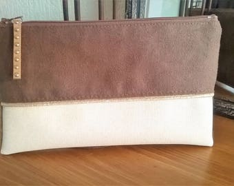BROWN SUEDE CLUTCH BAG POUCH AND SWAROVSKI IVORY LEATHERETTE