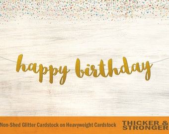 Happy Birthday Banner, Script Font - Happy Birthday Sign, Party Banner, Birthday Decorations