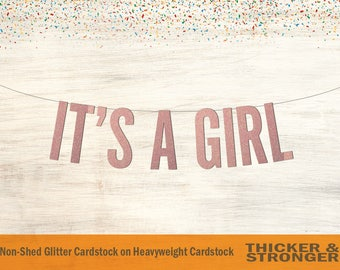 It's a Girl Banner, Block Letters - Gender Reveal, Baby Shower Decorations, Its a Girl Sign, Baby Shower