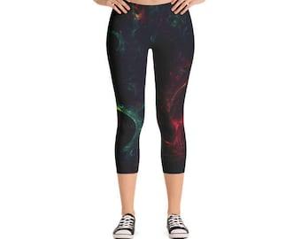 Best Galaxy Photo Print Womens Cute Athletic Yoga Black Micro Fiber Fitness All Over Printed Capri Leggings
