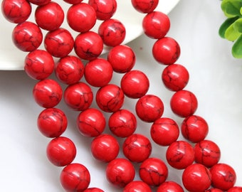 Red Stone Beads 20 pcs Natural Stone Beads Patterned Round Polished 6mm Beads for Jewellery and gift Making