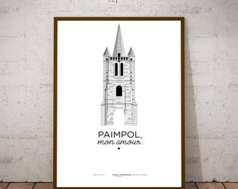 """A3 print/poster/print - Steeple old - """"Paimpol, my love."""""""