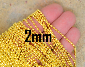 Gold Mesh meter ball chain 2mm