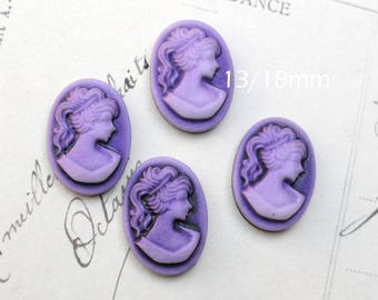 4 x purple Lady cameo cabochon resin 13 x 18 mm