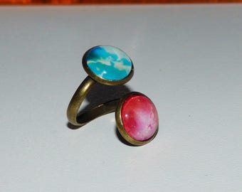 """Ring collection """"Galaxy"""" double cabochon"""