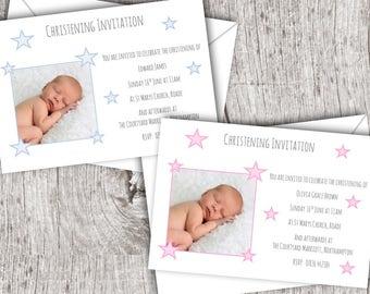 Personalised Photo Christening/Baptism Invitations inc. envelopes - Flat Style - Baby/Child/Boy/Girl