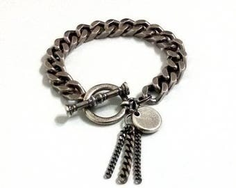 Pendant bracelet, Chain tassel, Silver bracelet, Oxidized silver, Women bracelet, Gift idea, Gift for her, Bracelet gift, Gift for women
