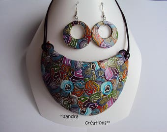 """Matching Earrings + Necklace """"Caribbean"""" theme set"""