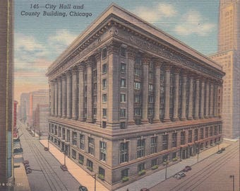 Chicago, Illinois Vintage Postcard - City Hall and County Building, Cook County
