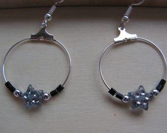Earrings hoops grey and rock star black