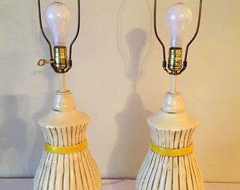 Faux bamboo lamps pair Hollywood Regency Chinoiserie Palm Beach chic at Florida classics