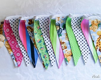 Jolly in the Jungle animal safari colourful dotty/stripes fabric bunting / pennant flags