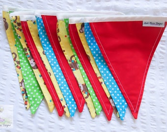 Monkey Mayhem fun and bright red, yellow, green and blue boys / girls fabric bunting / pennant flags nursery or kids bedroom