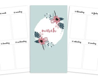 Personal March Weekly Printable Insert - TN/Ring Planner - Spring Blooms