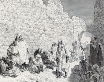 Waiting for the Sultan Speech, Morocco 1880 - Old Antique Vintage Engraving Art Print - People, Waiting, Wall, Ruins, Village, Gate, Arch